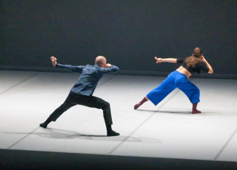 La coreografía Marriage of heaven and hell, matrimonio del cielo y el infierno. Una coreografía del Instituto Stocos en la que dos bailarines de espaldas escrutan el futuro.