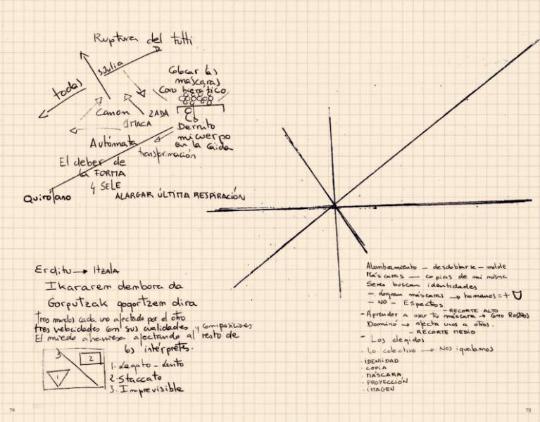 En la imagen, un boceto lleno de líneas que se entrecruzan, párrafos manuscritos e instrucciones manuscritas sobre un papel cuadriculado, para dar vida a la coreografía.