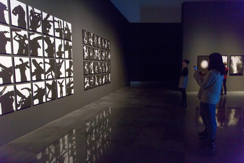 Varias personas contemplan una pared en la que dos mosaicos de fotos en blanco y negro de la exposición Universos del artista David Jimenez nos invitan a cuestionarnos lo que vemos.